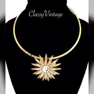 Chocolate Jewelry - Stunning rhinestone floral choker
