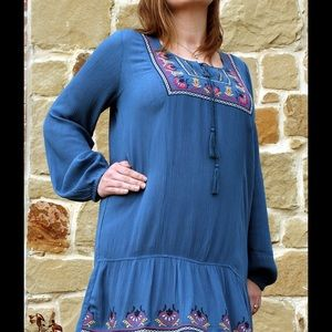 Spring Blue Boho Gauze Dress!
