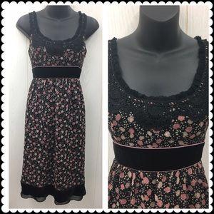 Cynthia Steffe romantic black floral dress Sz 6