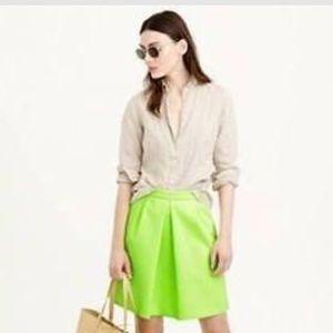 Nwt J Crew Pleat Front Mini Skirt Citrus Green 00