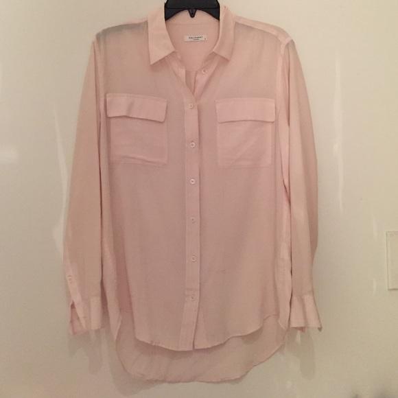 d2d7a038e3c6b Equipment Tops - Equipment long sleeve light pink silk blouse small