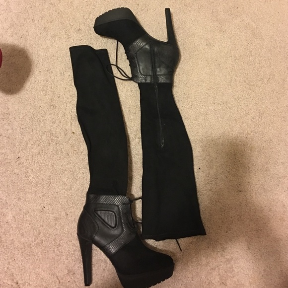 68 zara shoes black knee high suede leather lace