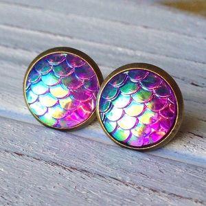 Abbie's Anchor Jewelry - Mermaid  scale stud earrings