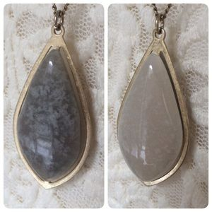 UK Accessorize Jewelry - Double Sided Long Pendant Necklace Ivory Gray NWOT