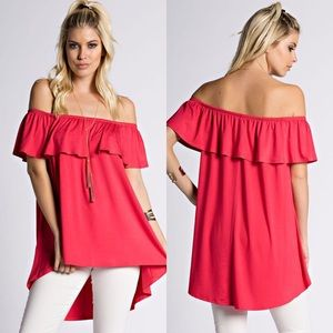 Tops - Open Shoulder Tunic in DEEP CORAL OR OFF WHITE