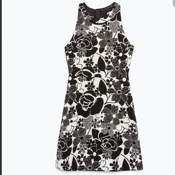 SALE! NWT ZARA JACQUARD FLORAL DRESS SIZE L 6480d026f