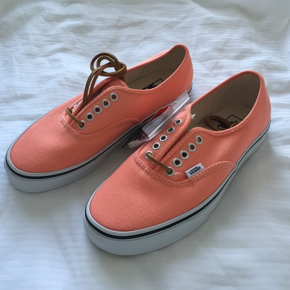 414519d95f Brushed Twill Authentic Fresh Salmon Vans - 8.5