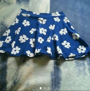 Blue flower skater skirt