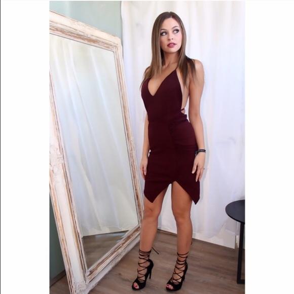 64% Off Nasty Gal Dresses Hot Burgundy Wrap Around Slim Dress | Poshmark