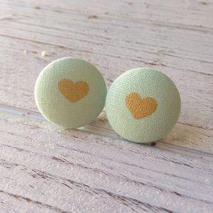 Mint Green & Gold Heart Fabric Button Earrings