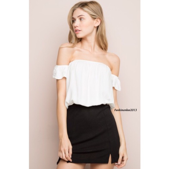 9ae142e51d51bd Brandy Melville white off shoulder beccah top