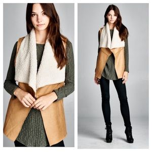 Boho Loco Fashion Boutique Jackets & Blazers - Cape Shearling Faux Suede Vegan Leather Vest NWOT