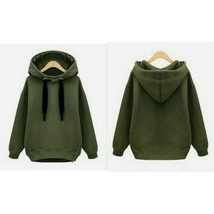 Sweaters - Army Green Pullover Hoodie with Zipper and Fleece