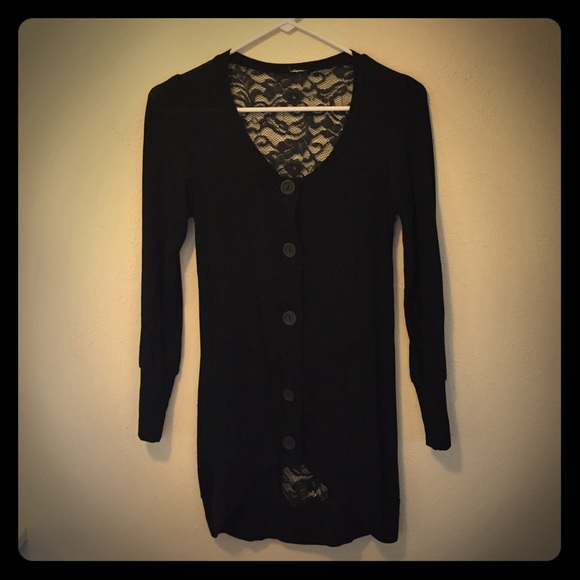 66% off Sweaters - Black cardigan with floral lace back. NWOT from ...