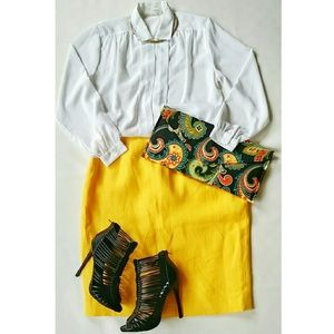 🚫SOLD🚫Canary Yellow Vintage Linen Skirt