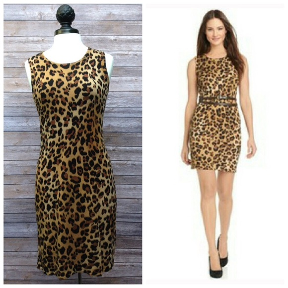 7afc8ab5c70d Calvin Klein Dresses   Skirts -  Calvin Klein  Leopard Print Knit Sweater  Dress