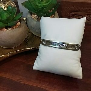 Silver plated and abalone bracelet