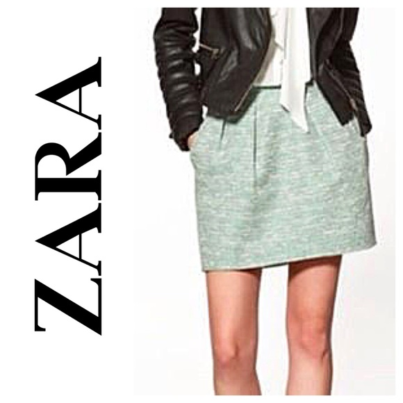 b3156ee2 ... Zara Mint Green Tweed Mini Skirt. M_5739510aa88e7d213b08043d