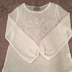 Skies are Blue sheer White Peasant Top size L