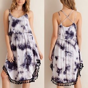 JANESSA tie dye midi dress - NAVY