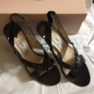 Jimmy Choo Black Patent Sandals Heels