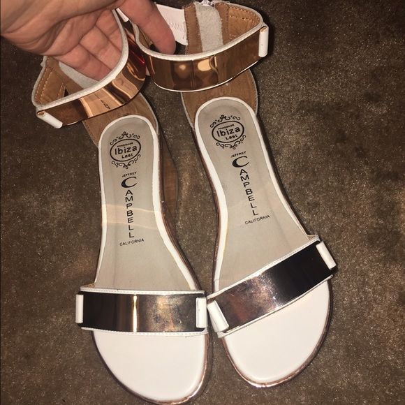 415058b7828 Jeffrey Campbell Shoes - Jeffrey Campbell white copper platform sandals 7.5