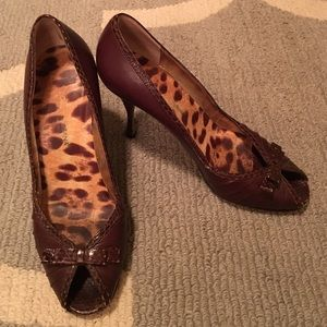 Dolce & Gabbana Brown Leather Peep Toe Pumps