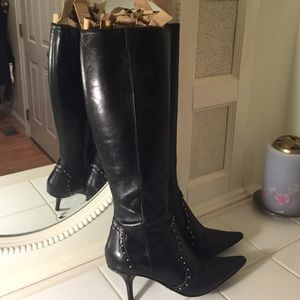 Michael kors leather boots with gold studs