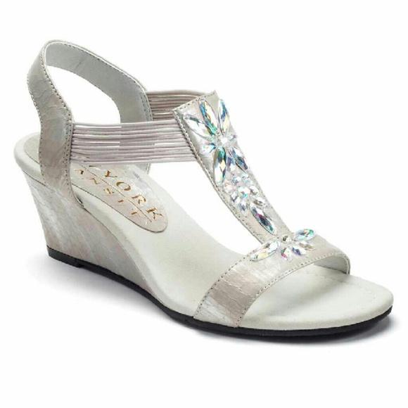 717a67864f6db7 New pearlized exotic rhinestone wedge sandals. M 56ecb67ff739bc10bd01318d