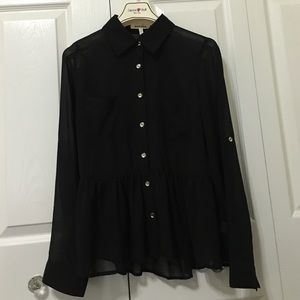 Tops - Sheer Black button down peplum shirt
