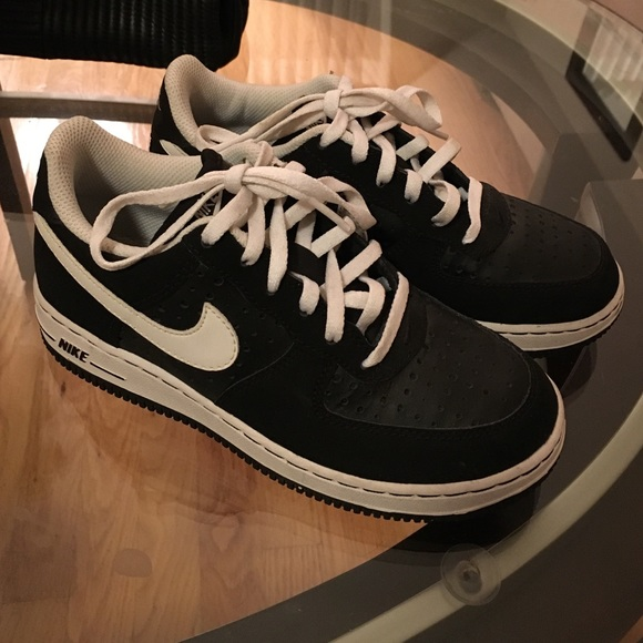 Black and white Nike Air Force Ones