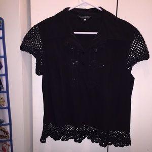 Tops - Black netted shirt