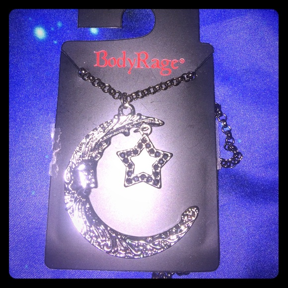 Body Rage Heart Necklace with Metal chain BLING Jewelry