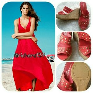 Anthropologie Shoes - ANDRE ASSOUS RED LEATHER STUD WEDGES 37