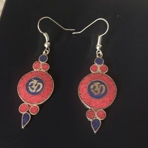 Hindu Om Luck Charm Coral Earring Silver Plated