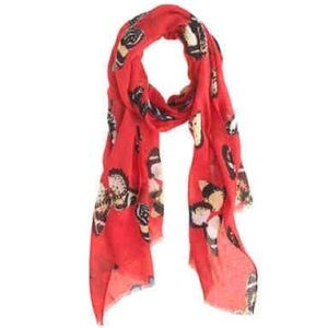 J. Crew Factory Accessories - NWT J.Crew Factory Monarch Butterfly Scarf Red