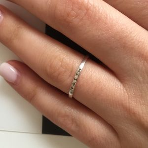 """STERLING SILVER-""""faith"""" ring"""