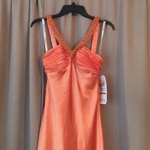 Morgan&Co Orange Full Length Beaded Gown