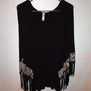 Boutique Black Fringe Shirt