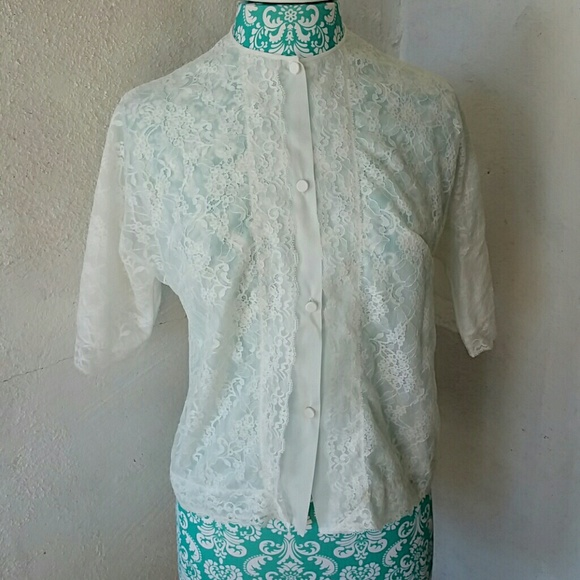 Vintage Tops - Vintage White Lace Blouse