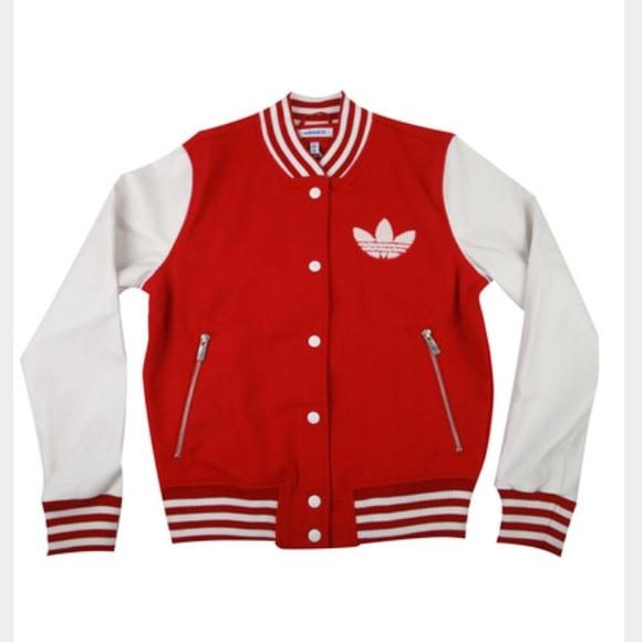 Adidas chaquetas y abrigos rojo Varsity College Jacket  mujer poshmark