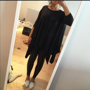 NEW! Black asymmetrical long sleeve jersey top