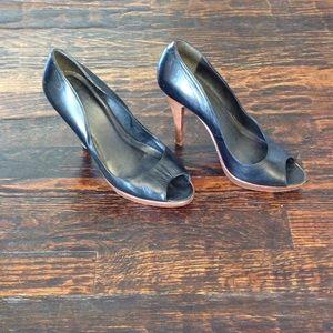 Aldo Black Peeptoe Heels