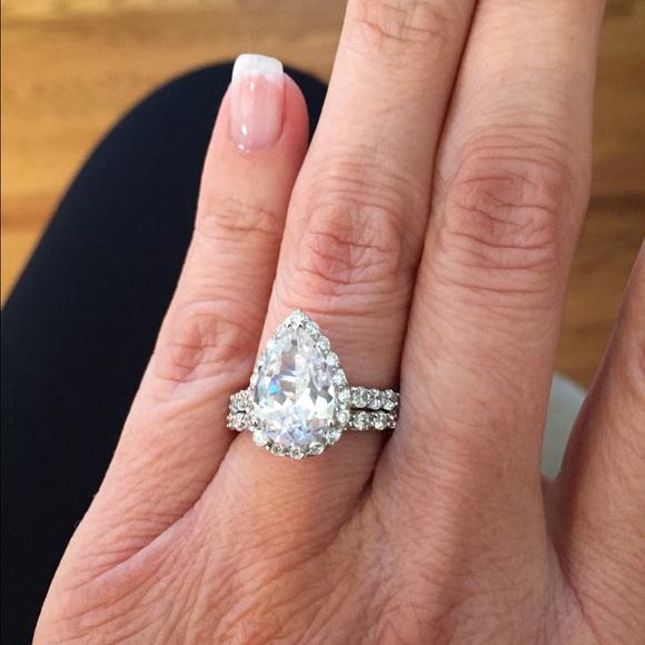 Cz Wedding Sets.925 Silver Pear Shaped Cz Wedding Set Nwt