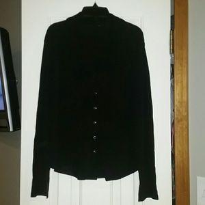 Black button blouse, size large