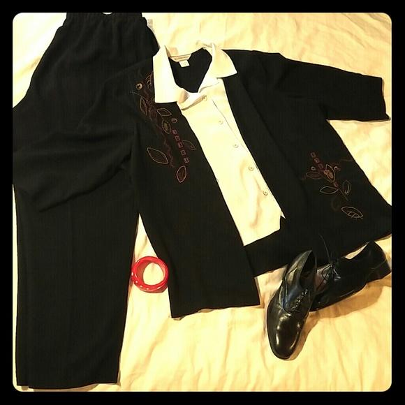 03c46d6bd69 Allison Daley Pants - LAST CHANCE Two Piece Casual Pant Suit Plus Size