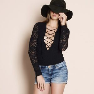 All Over Lace Lattice Bodysuit