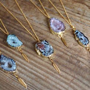 Druzy Feather Charm Pendant Necklace
