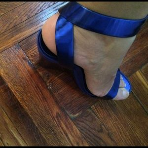 BCBG Shoes - Metallic blue BCBG wedges!