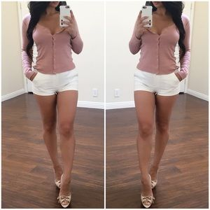Casual Pink Long Sleeve Button Up